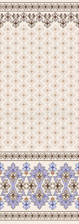 Brown seamless pattern with wide border in east style royalty free illustration
