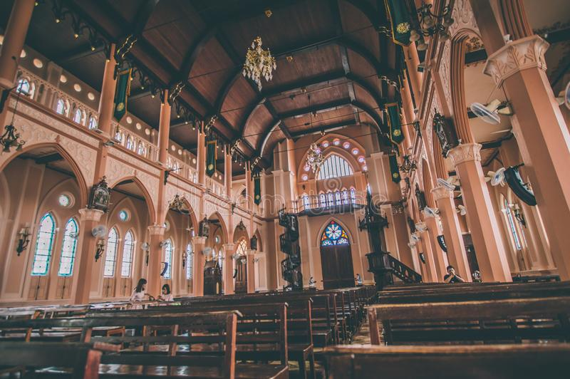 Brown Seats Inside A Church royalty free stock image