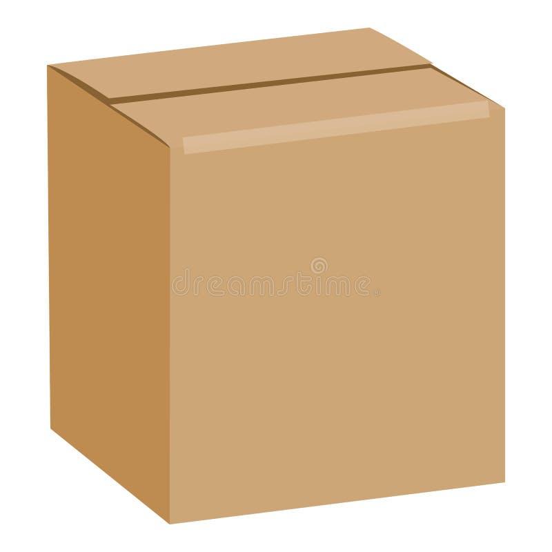Brown selou o modelo da caixa quadrada, estilo realístico ilustração do vetor
