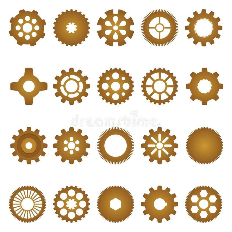 Brown set of inner and outer gears of different shapes and sizes with different numbers of teeth, and the internal shape vector illustration