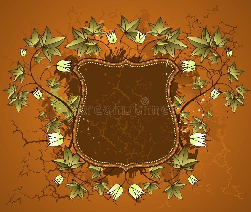 Brown shield, vector stock illustration