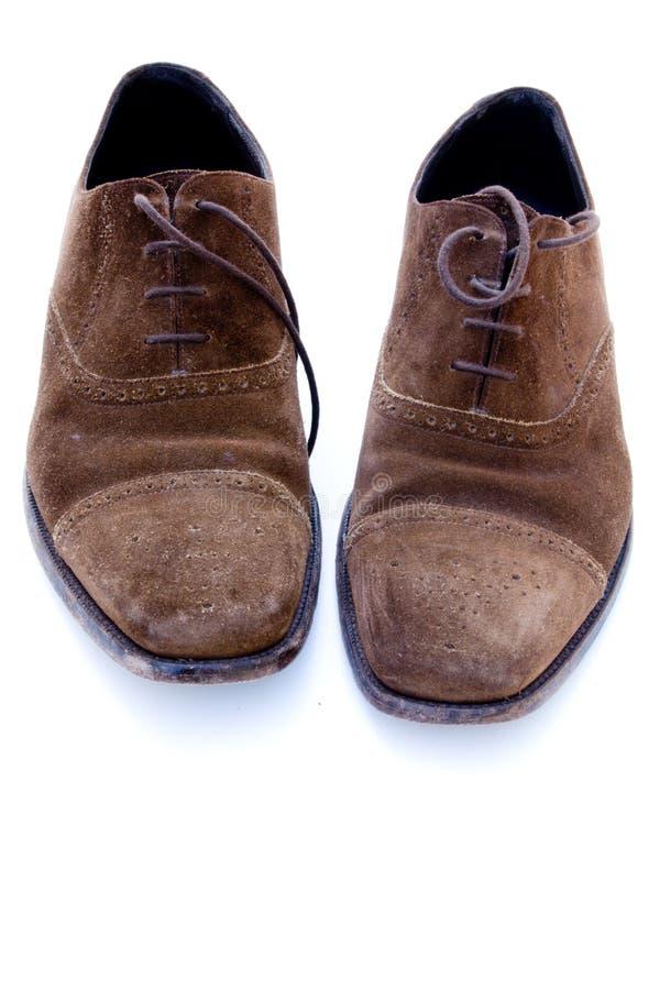 brown shoes använd suede royaltyfria bilder