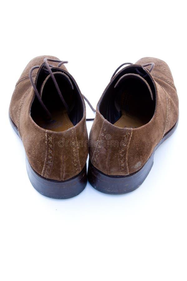 brown shoes använd suede royaltyfri fotografi
