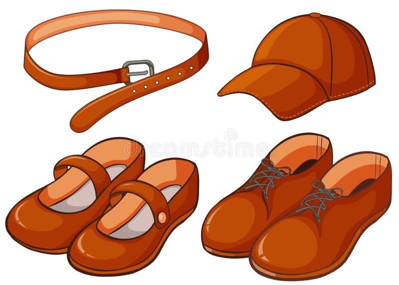 Brown shoes and belt vector illustration