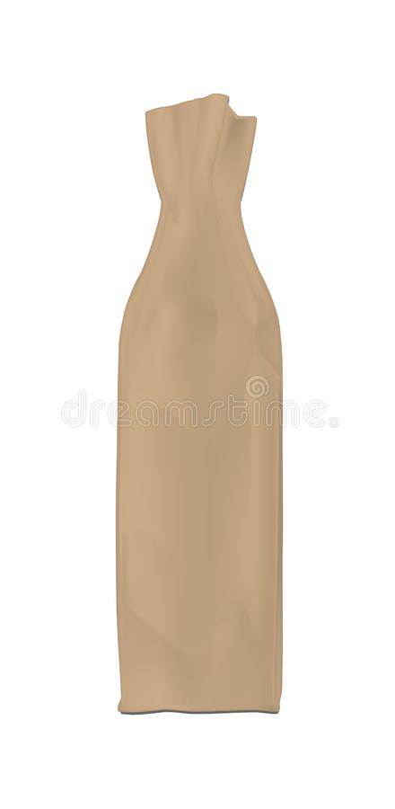 Brown shopping paper bag. Packaging for bottle and other products.  vector illustration