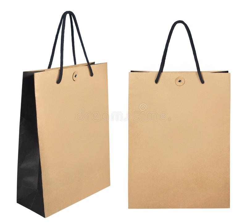 Brown shopping paper bags isolated on white background. Photo take on 2016 royalty free stock image