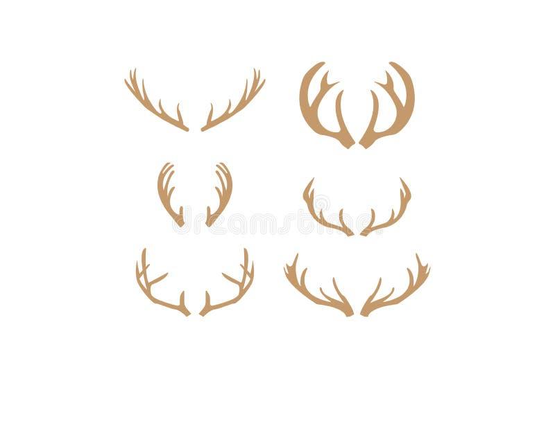Brown silhouettes of deer antlers vector stock images