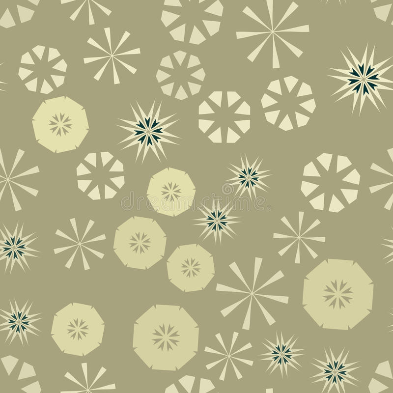 Brown simple seamless pattern for design. Vector background with geometric stars and flowers. Circular colorful texture royalty free illustration