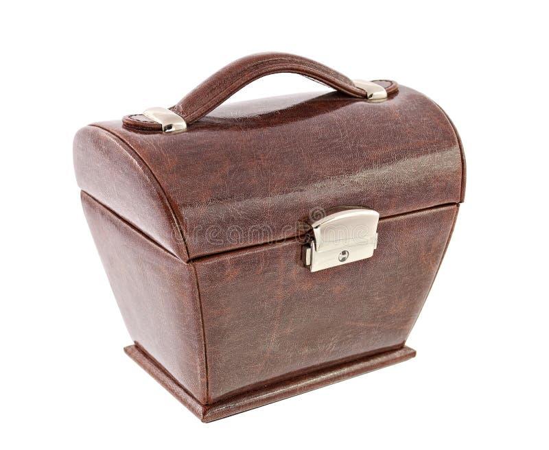 Brown skóry pudełko dla kosmetyka lub jewellery zdjęcie royalty free