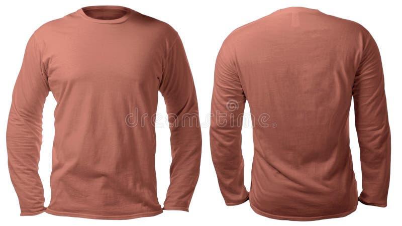 Brown Sleeved lang Hemd-Entwurfs-Schablone lizenzfreies stockfoto