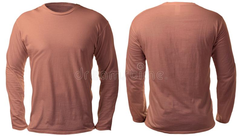 Brown Sleeved lang Hemd-Entwurfs-Schablone stockfoto