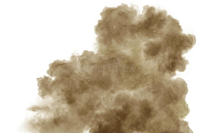 Brown smoke on white background. Brown dust particle exhale in the air.  royalty free stock photo