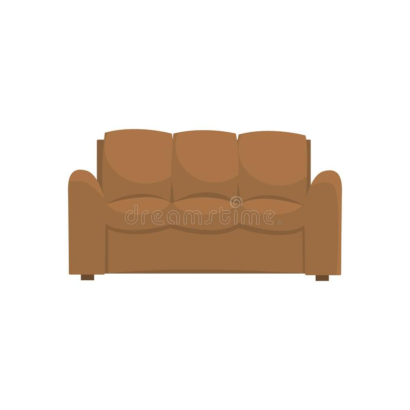Brown sofa or couch, living room or office interior, furniture for relaxation cartoon vector Illustration stock illustration