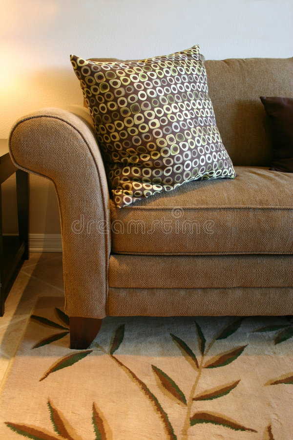 Download Brown Sofa and Pillow stock image. Image of neutral, tweed - 1900397