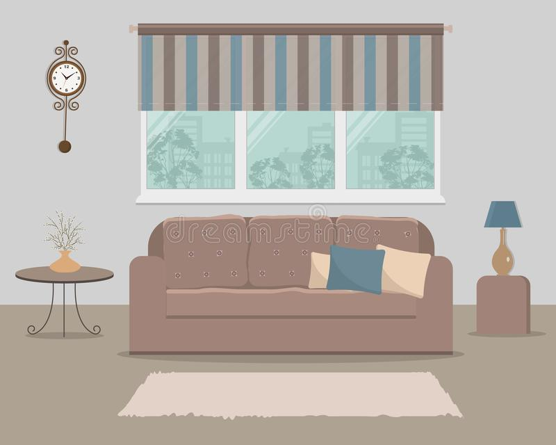 Brown sofa with pillows on a window background. There is a lamp, a table with flowers and a clock on the wall in the picture. Living room. Vector illustration royalty free illustration