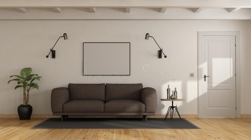 Brown sofa in a white interior vector illustration