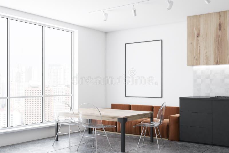 Brown-Sofaküchenecke mit Plakat stock abbildung