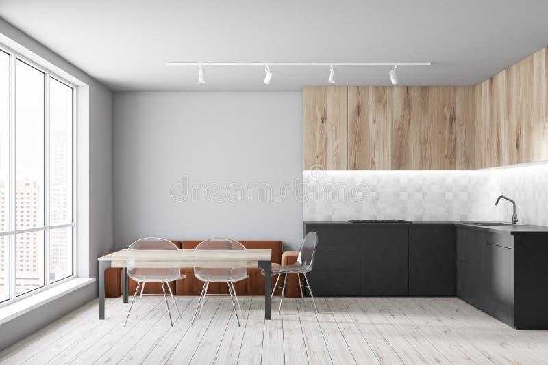 Brown-Sofakücheninnenraum stock abbildung
