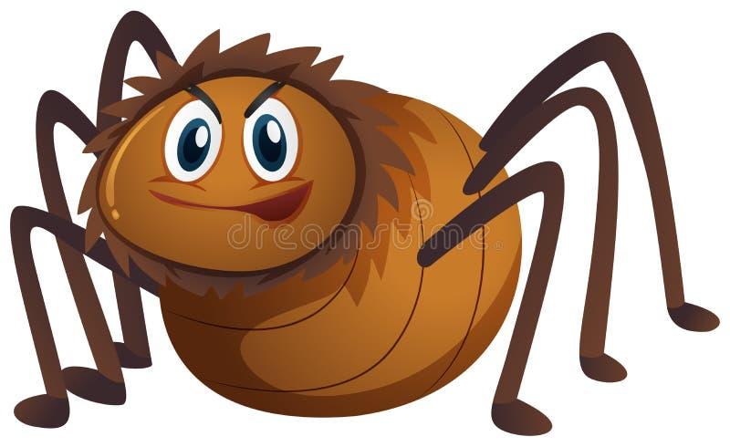 Brown-Spinne auf weißem Hintergrund lizenzfreie abbildung