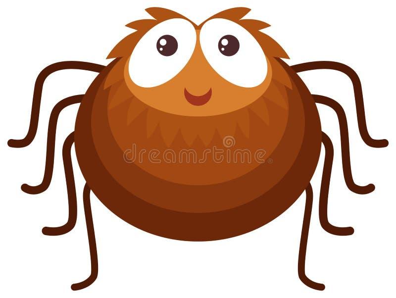 Brown-Spinne auf weißem Hintergrund stock abbildung