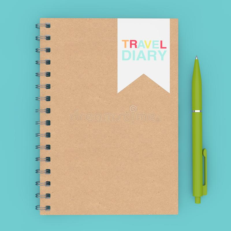Brown Spiral Travel Diary Notepad with Pen. 3d Rendering stock image
