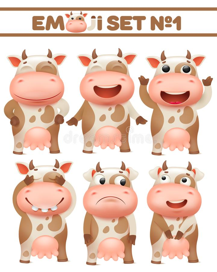 Brown spotted cow cartoon character emoji set in various emotions vector Illustration vector illustration