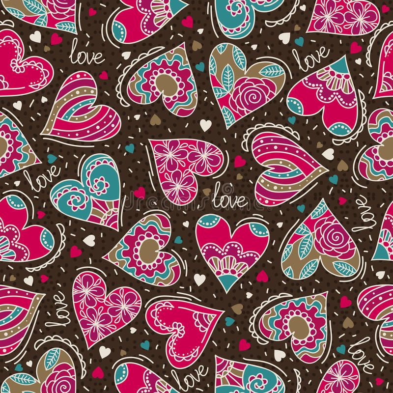 Brown square background with pink decorative valentine hearts royalty free stock photography