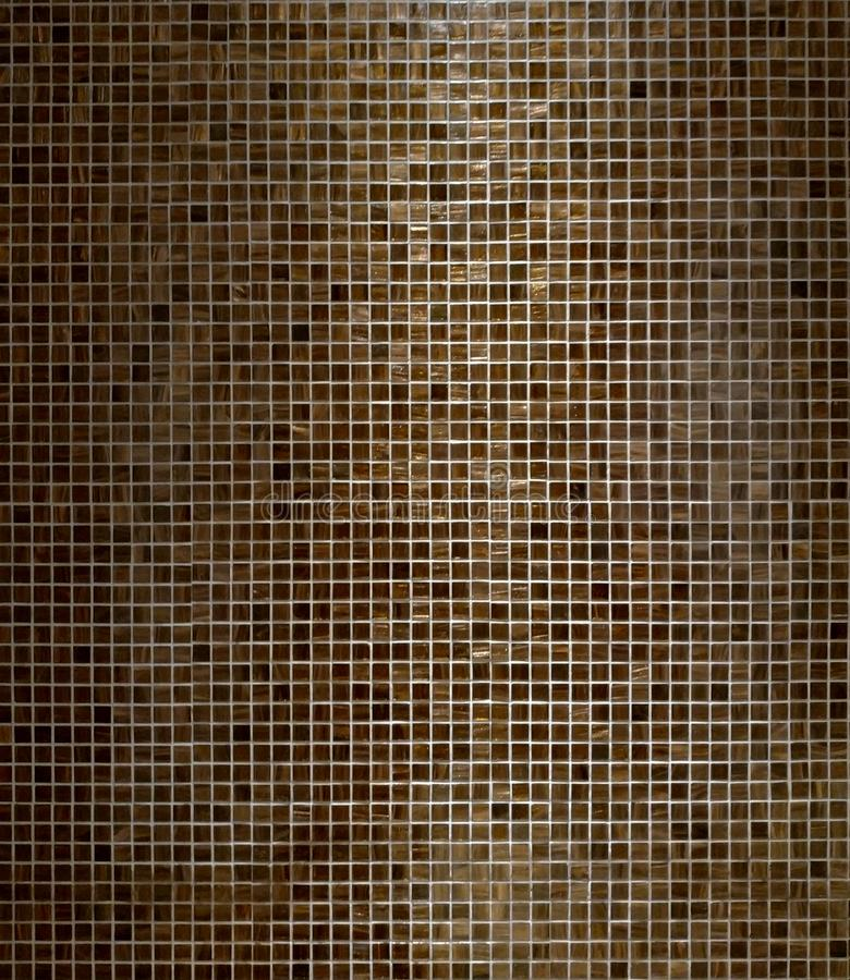 Brown Square Mosaics Bathroom Wall Tiles Texture Background. Pattern for Photo Studio Backdrop royalty free stock image