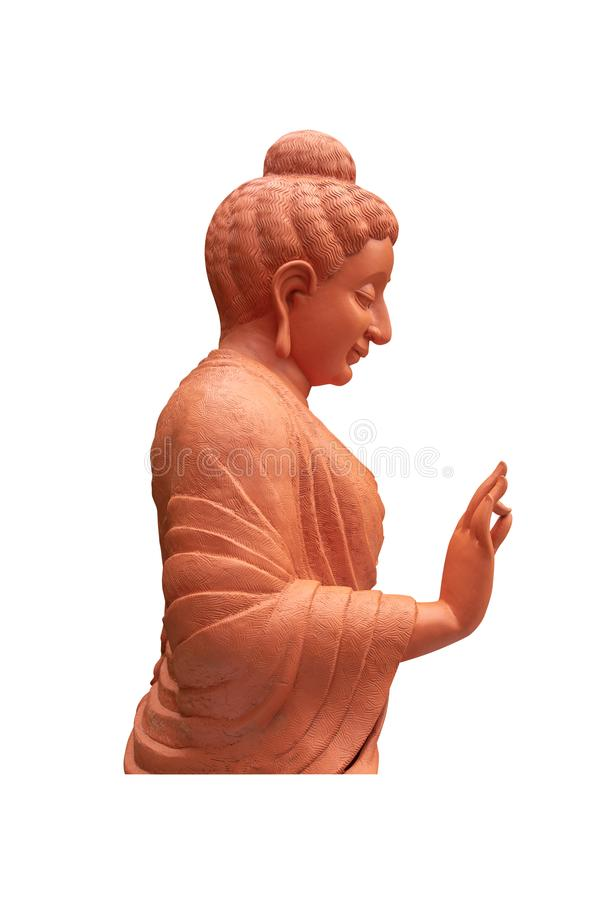 Brown Statue of the Buddha Side view in the temple isolate on white background royalty free stock photography