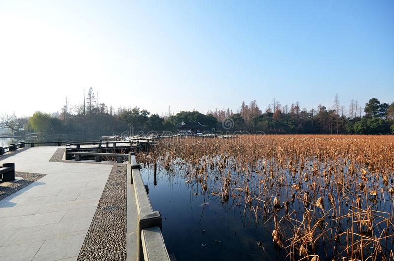 Winter on West Lake, Hangzhou. stock images