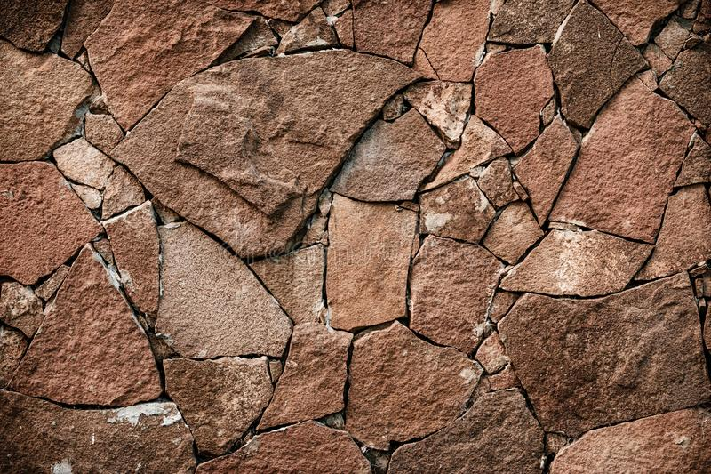 Brown stone texture, retro style. Brick wall background. Abstract rock pattern. Stone wall backgrounds. Natural pattern. Copy spac stock images