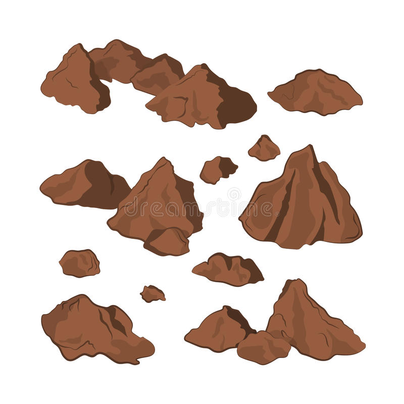 Brown stones on a white background. Isolated rock in cartoon style. Set of mineral formation stock illustration