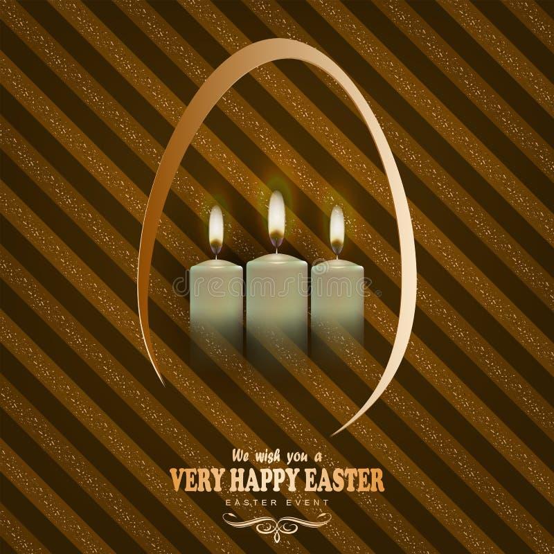 Brown streifte Hintergrund mit Kerzen und Text einer glücklichen Ostern-Karte stock abbildung