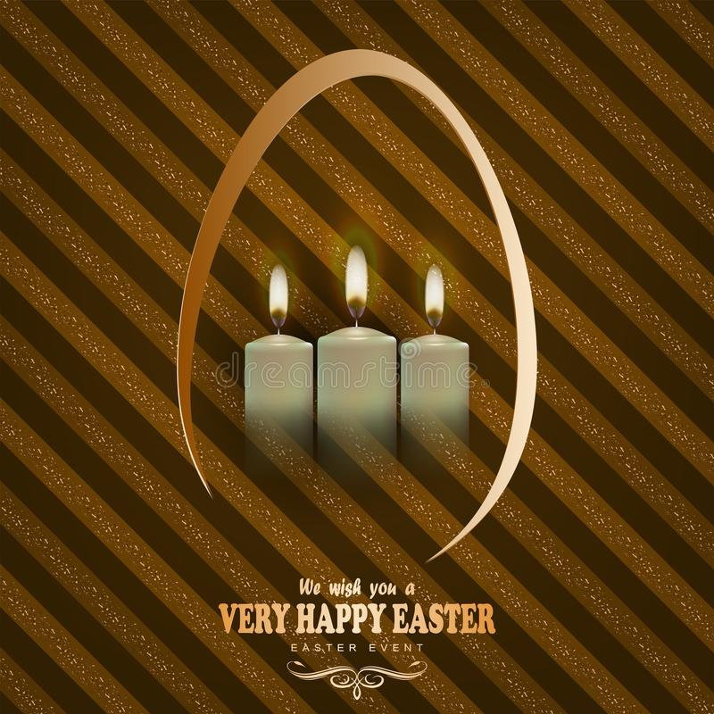 Brown striped background with candles and text of a happy easter card stock illustration