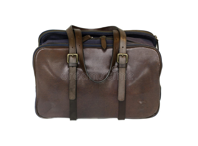 Brown stylish leather bag satchel stock photos