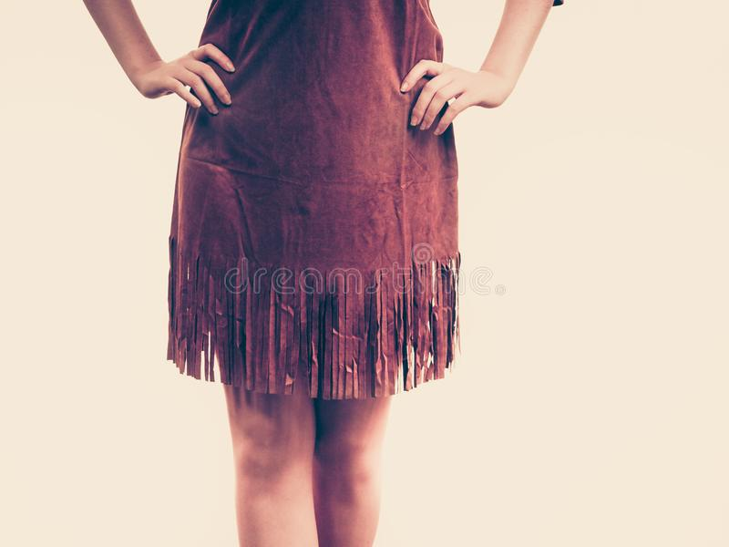 Brown suede skirt with fringe royalty free stock photography