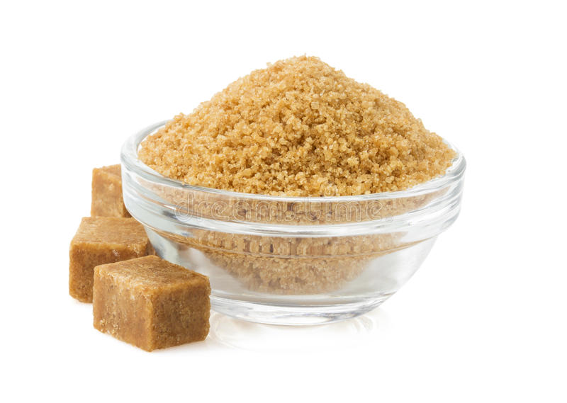 Brown sugar in bowl stock images