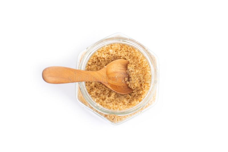 Brown sugar in a glass jar royalty free stock images