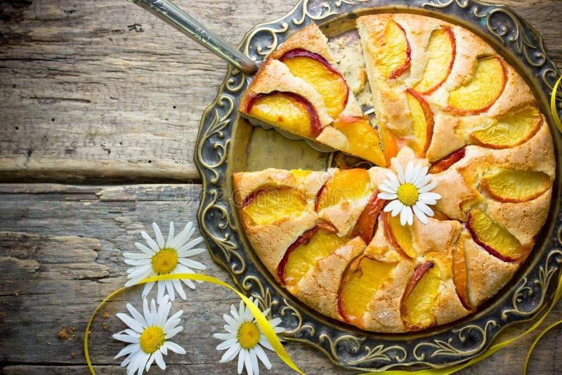 Brown sugar peach pie. Brown sugar peach slab pie royalty free stock photo