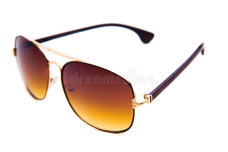 Brown sunglasses isolated on the white background royalty free stock photo