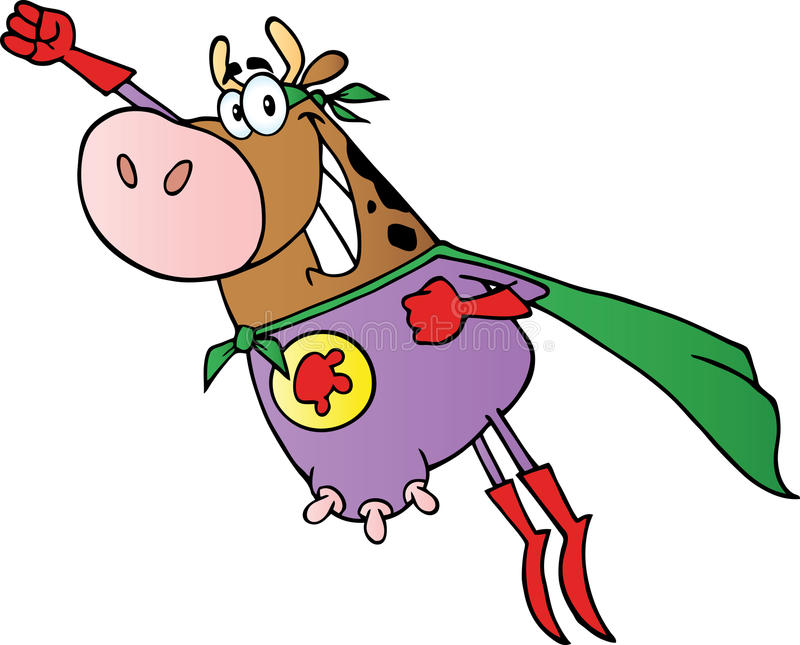 Brown super cow flying royalty free illustration