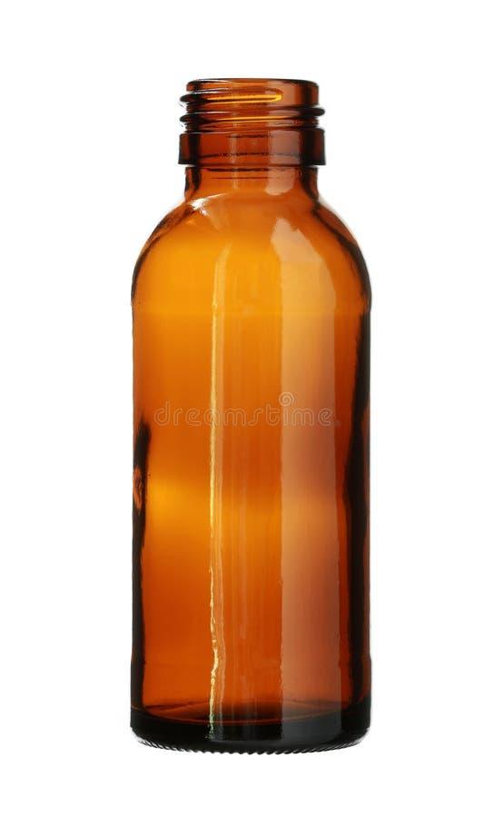 Brown Szklana butelka Threaded usta odizolowywającego na białym tle zdjęcia royalty free
