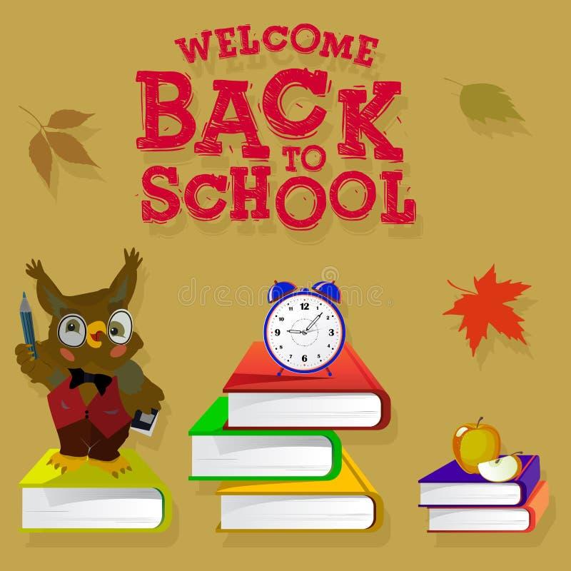 Brown sztandar z inskrypcją z powrotem szkoła Książki, budzik, jesień liście i sowa nauczyciel, przedstawiają na tle ilustracja wektor