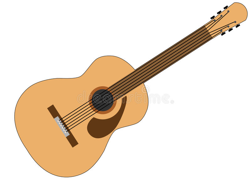 Brown and Tan 6 String Acoustic Guitar. Drawing of an acoustic 6 string guitar in brown and tan isolated on a background of white vector illustration