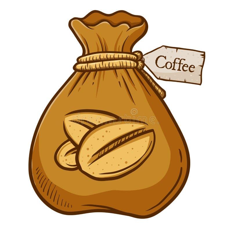 Brown-Tasche voll von Kaffeebohne lizenzfreie abbildung
