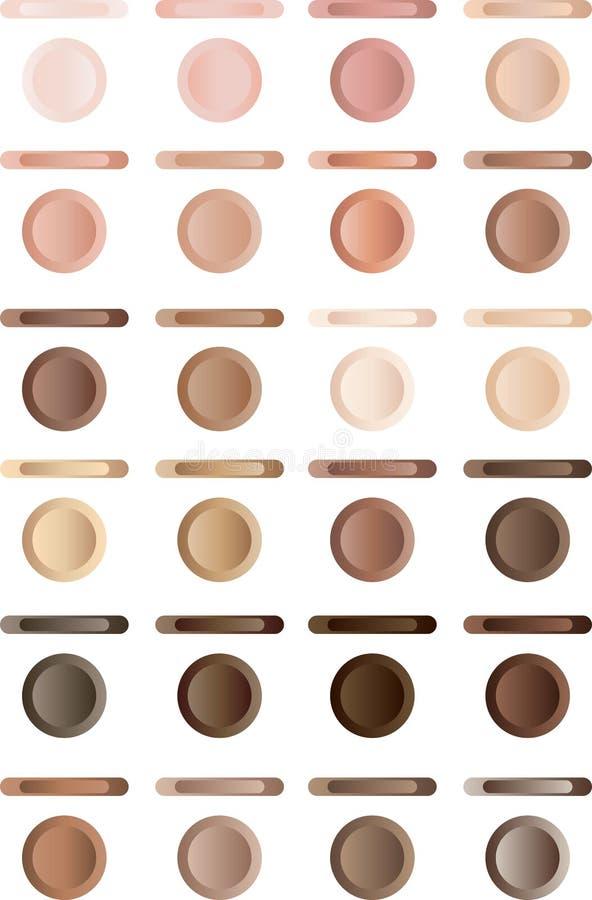 Brown-Tasten eingestellt und Menüvierecke stock abbildung