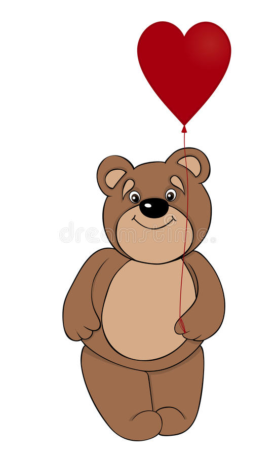 Download Brown Teddy Bear Holding A Balloon In The Form Of Red Heart Stock Vector - Illustration: 28544658