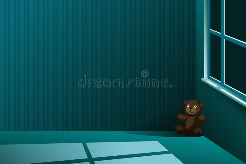 Download A Teddy Bear Left Alone In The Corner Of An Empty Room At Night