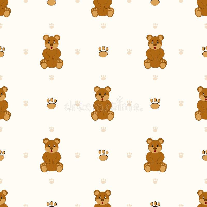 Brown Teddy Bear Modelo inconsútil con los osos ilustración del vector