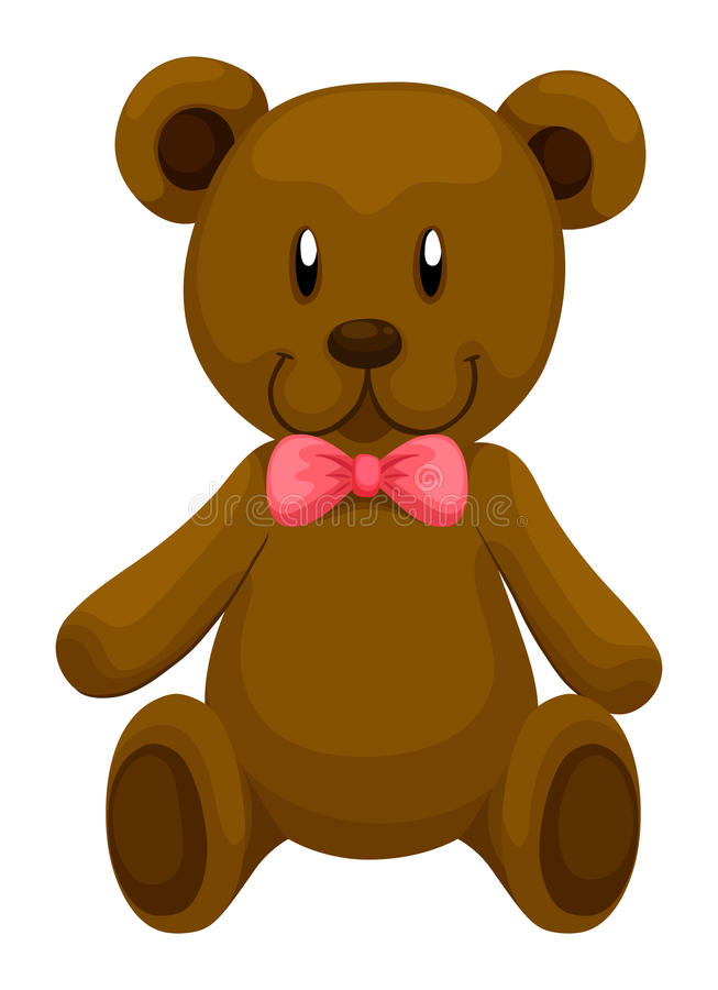 Brown teddy bear with red ribbon stock illustration